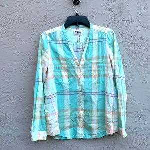 Anthropologie: Plaid Long Sleeve Button Up Blouse